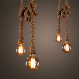 Vintage Hemp Rope Pendant Lights Retro Loft Industrial Hanging Lamp