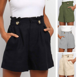 New solid color high-waist frill loose straight-leg shorts