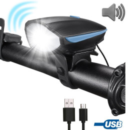 Horn 140 DB Super Bright Waterproof 3 Lighting Modes USB Rechargeable Bicycle Light