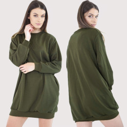 Lady Long O Neck Long Sleeve Loose Casual Women Sweatshirts