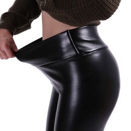 Women PU Leather Pants High Elastic Waist Leggings Trousers