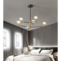 Modern minimalist living room glass wrought iron chandelier