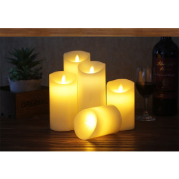 Remote control LED candle ivory color Pillar Candles