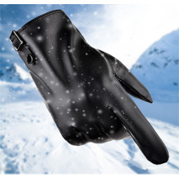 Touch screen men's gloves winter leather gloves