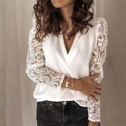 Stitching lace long-sleeved slim bottoming shirt for women
