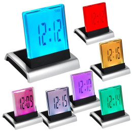 LCD 7 Colour digital Alarm Clock with Thermometer