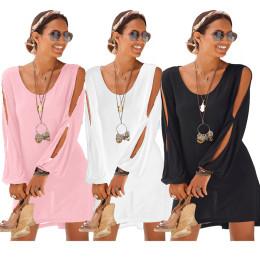 Leaky Shoulder Long Sleeve Casual Dress