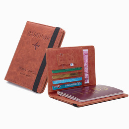 Leather passport holder with elastic band