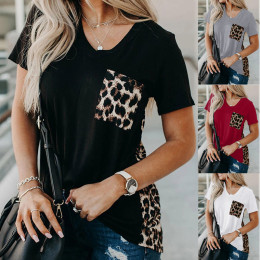 Loose leopard pattern stitching knitted ladies blouse