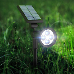 2in1 Bright Outdoor Led Solar Spotlight Lawn Flood Light Waterproof 4 LED Wall Lamp
