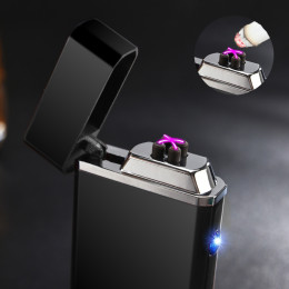 Double Arc Lighter USB Electric Rechargeable Windproof Torch Lighter Cigarette Dual Thunder Pulse Cross Lighter