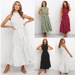 Long lace up polka dot dress