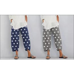 Women's loose polka dot trousers