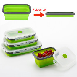 350ml/500ml/800ml 3pcs/Pack Portable Foldable Silicone Lunch Box