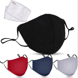 Unisex Black Cotton Mouth Mask with Filter Reusable Mask Dustproof Washable Face Mask