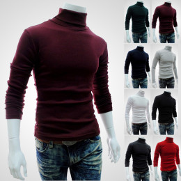 Men's long-sleeved woolen high collar pullover T-shirt bottoming shirt