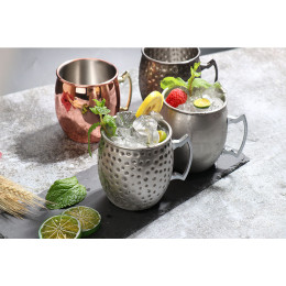 Mule Moscow mule cup 304 stainless steel plated copper hammer dot cup