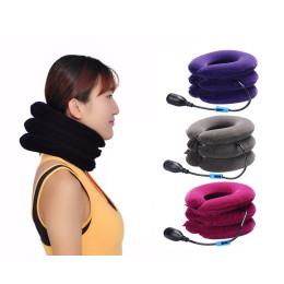 Inflatable neck traction braces supports