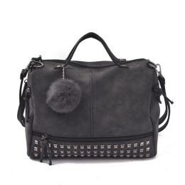 Vintage Nubuck Leather Female Top-handle Bags Rivet Larger Women Bags Hair Ball Shoulder Bag