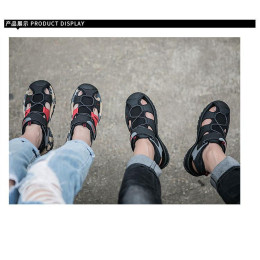 Couple Baotou leather sandals casual outdoor beach shoes for women and men