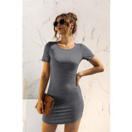 Solid color short-sleeved slim U-shaped slit dress