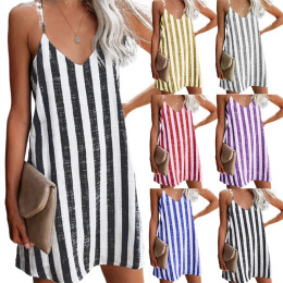 Sexy striped suspender dress women's clothing