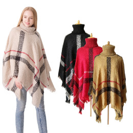 Women's Plaid High Collar Knitted Sweater Poncho