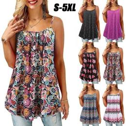 Summer Women's Printed Loose Large Sling Top