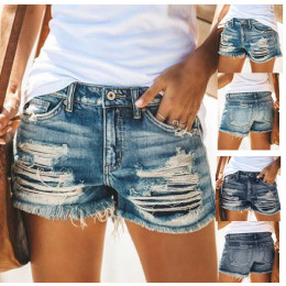 Summer new style high waist fringed hole denim shorts women