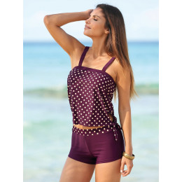 High-waisted boxer shorts printed split swimsuit