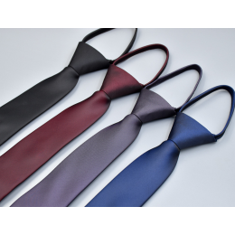 Pre-tied Zipper Ties for Men Narrow Necktie