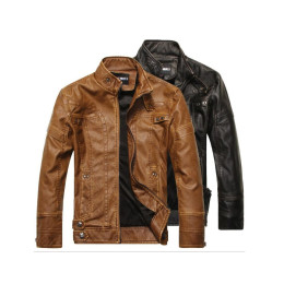Fashion Leather Jacket Men PU Leather Stand Collar Motorcycle Jacket