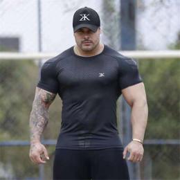 Compression Quick dry T-shirt Men Running Sport Skinny Short Tee Shirt
