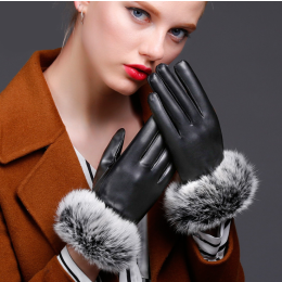 Women PU Leather Winter Rabbit fur Warm Gloves