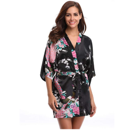 Floral Satin Kimono Short Robes for Women Bridesmaid and Bride Robes for Wedding Party-Silky Touch