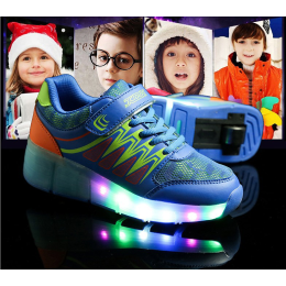 Rechargeable Boys Girls LED Light Up Wheel Roller Flashing Skate Shoes