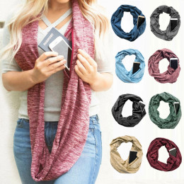 Womens Wrap Scarf with Hidden Zipper Pocket keep warm and stylish