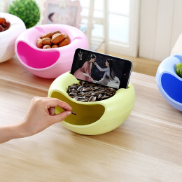 Creative Melon Seeds Nut Bowl With Mobile Phone Stents