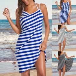 Sexy beach striped suspender dress