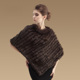 Women's Fashion Triangle Scarf Jacket Coat Rabbit Fur Shawl Cape