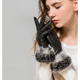 Women Sheepskin Rabbit fur Warm Gloves