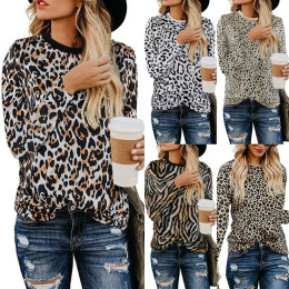 Womens Autumn Leopard Print Tops Ladies Casual Loose T Shirt Pullover Blouse