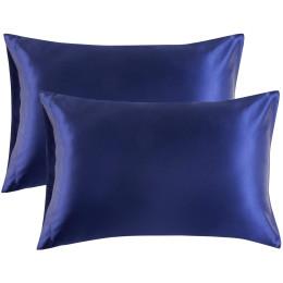 2pcs double-sided ice silk pillowcase plain silk polyester satin
