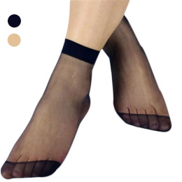 Women Short Sock Thin Transparent Crystal Silk Socks