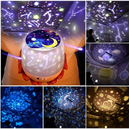 Night Light Projector Star Moon Sky Rotating  Bedside Lamp For Children