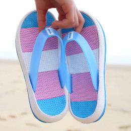 Striped Thick-Soled Beach Slippers
