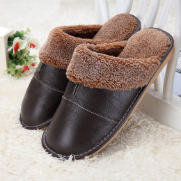 Warm indoor leather slipper