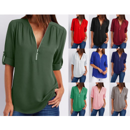 Sexy ladies Long Sleeve V-neck Zip Loose-Fit Plain Chiffon Shirt Top