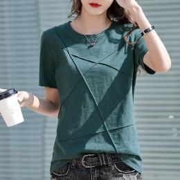 Slub Cotton Short Sleeve Ladies T-shirt