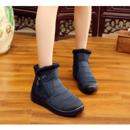 Women's mid tube snow boots thick plush waterproof cotton boots